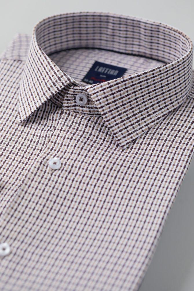 Приталенная коричневая рубашка 1-120-4-1011