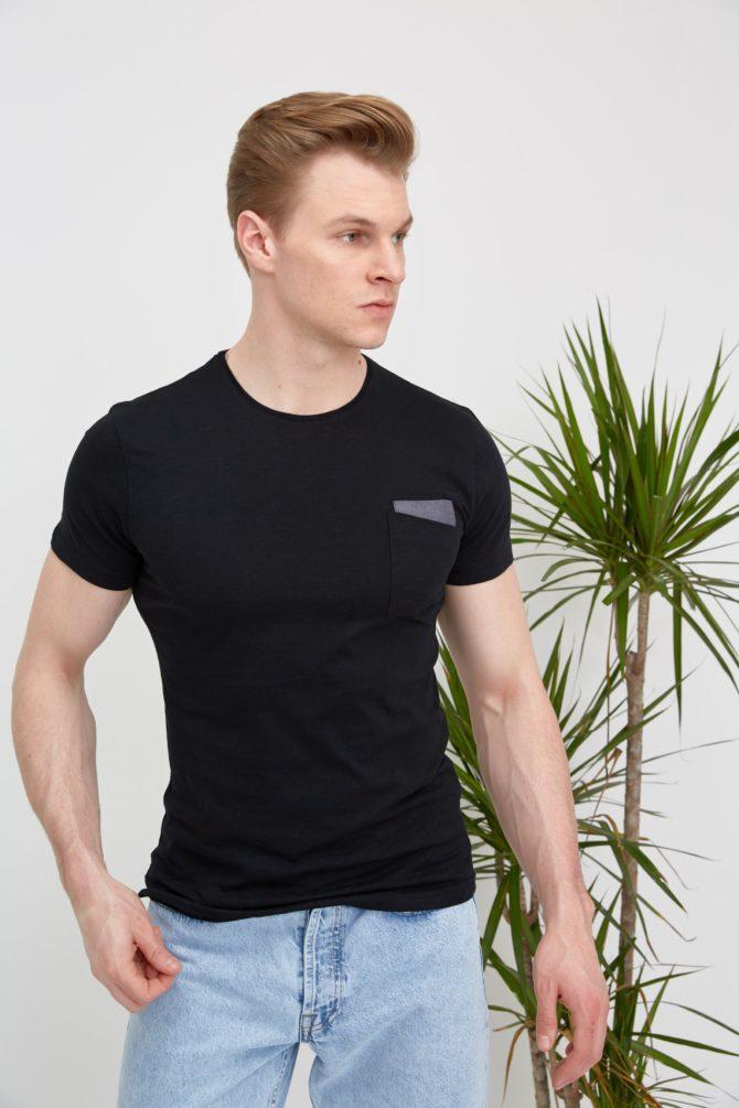 Хлопковая мужская футболка slim-fit 1-311200