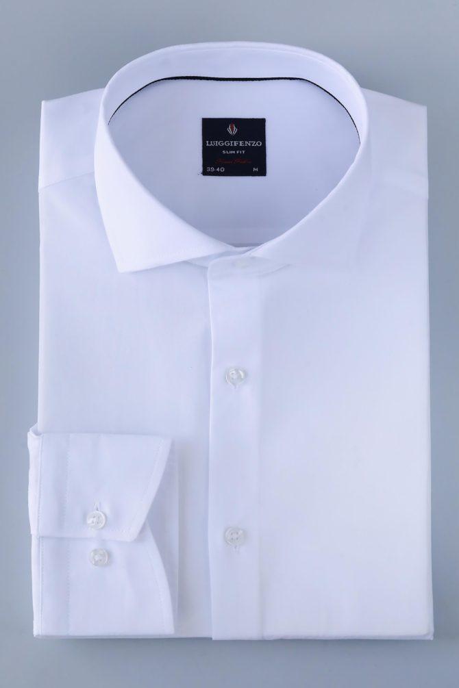 Мужская белая рубашка сатин 100% хлопок 1-109-1-2026